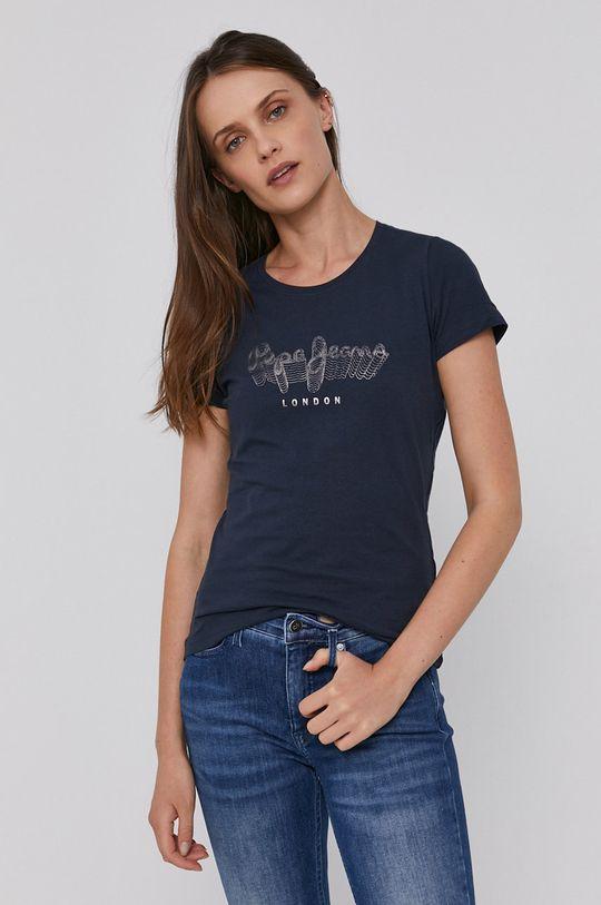 tmavomodrá Pepe Jeans - Bavlnené tričko ANNA Dámsky