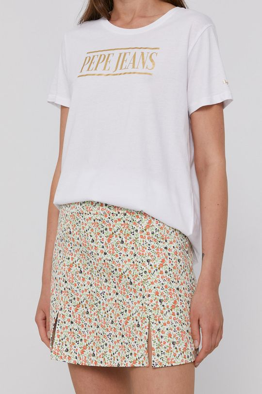 biały Pepe Jeans - T-shirt bawełniany BLANCA