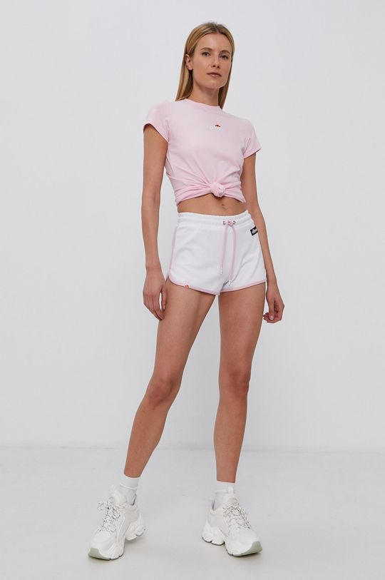 Ellesse - T-shirt bawełniany pastelowy różowy