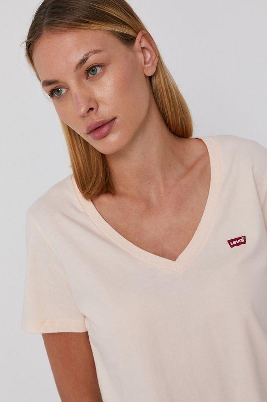 różowy Levi's - T-shirt bawełniany