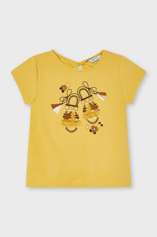 musztardowy Mayoral - T-shirt dziecięcy Dziewczęcy