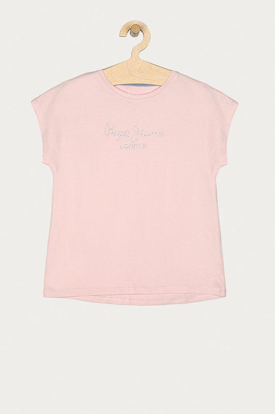 pastelová ružová Pepe Jeans - Detské tričko Nuria 128-180 cm Dievčenský