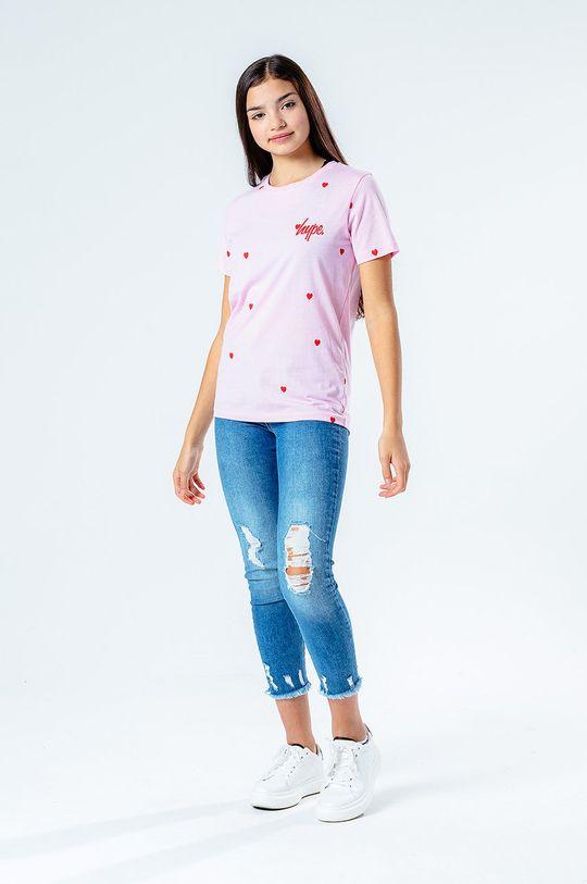 Hype - T-shirt dziecięcy HEART REPEAT różowy