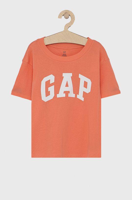 różowy GAP - T-shirt bawełniany dziecięcy Dziewczęcy