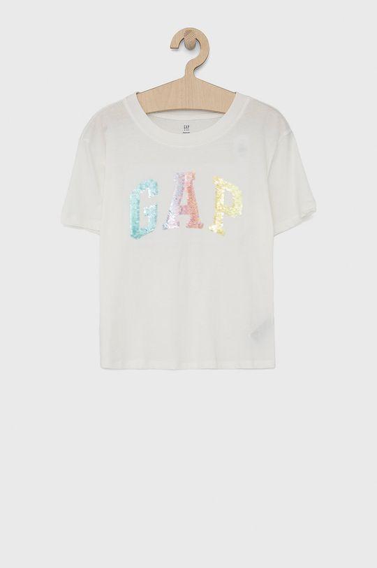 biały GAP - T-shirt bawełniany dziecięcy Dziewczęcy