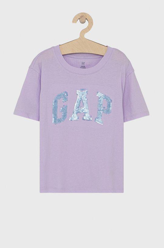 lawendowy GAP - T-shirt bawełniany dziecięcy Dziewczęcy