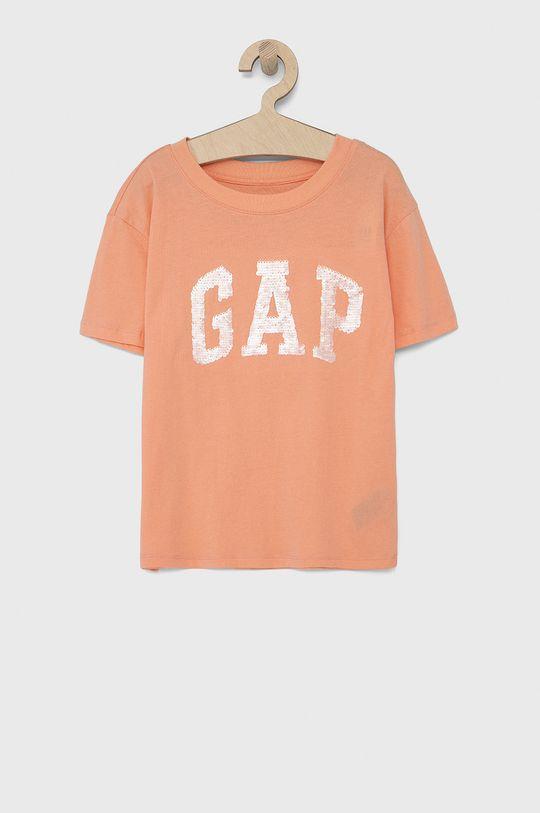 jasny pomarańczowy GAP - T-shirt bawełniany dziecięcy Dziewczęcy