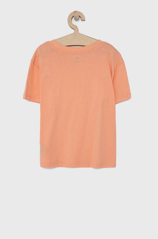 GAP - T-shirt bawełniany dziecięcy jasny pomarańczowy