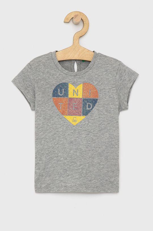 světle šedá United Colors of Benetton - Dětské bavlněné tričko Dívčí