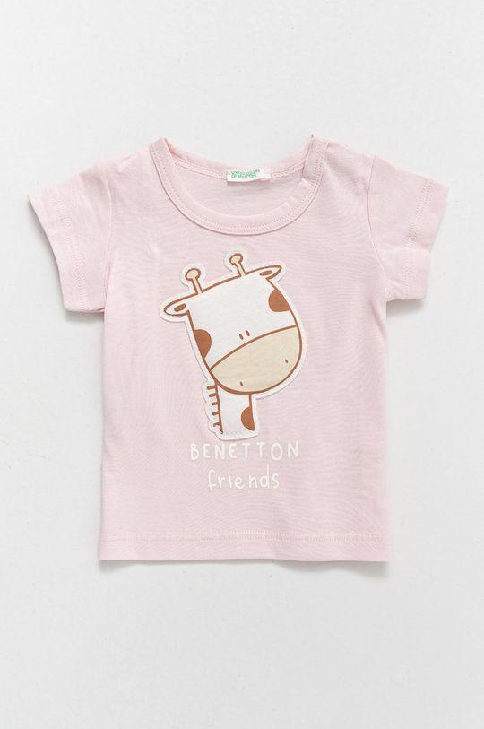 pastelově růžová United Colors of Benetton - Dětské bavlněné tričko Dětský