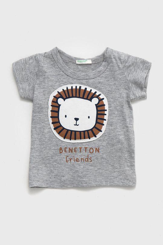 světle šedá United Colors of Benetton - Dětské bavlněné tričko Dětský