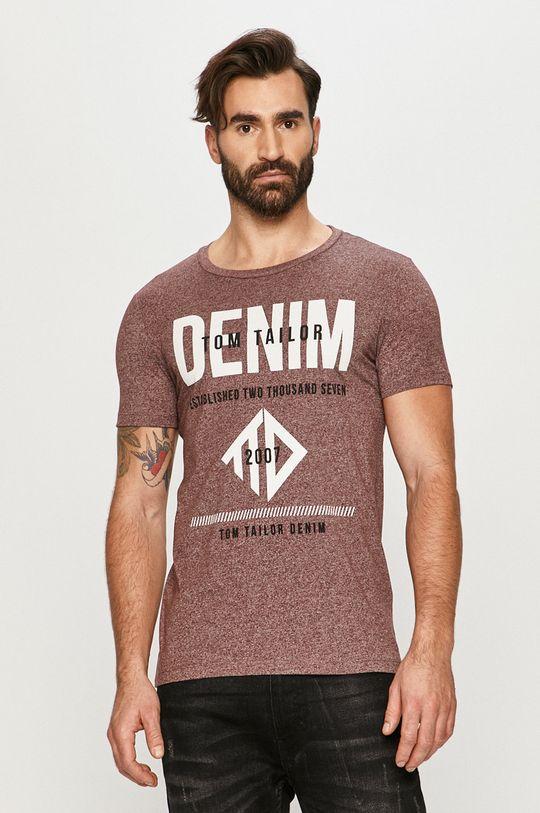 kasztanowy Tom Tailor - T-shirt Męski