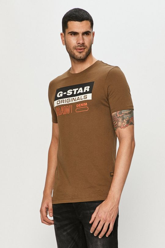 oliwkowy G-Star Raw - T-shirt Męski
