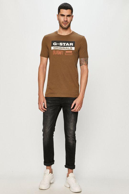 G-Star Raw - T-shirt oliwkowy