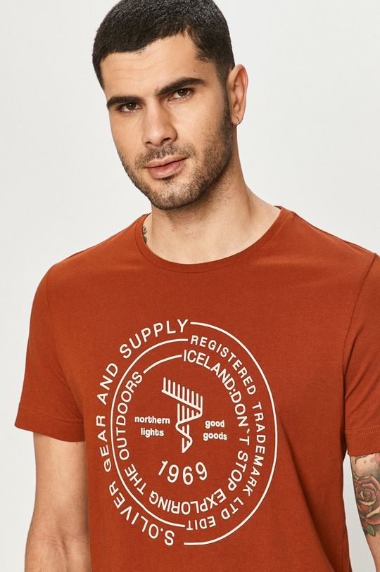 brązowy s. Oliver - T-shirt Męski