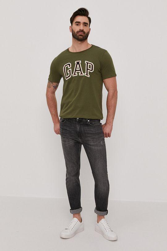 GAP - T-shirt brązowa zieleń