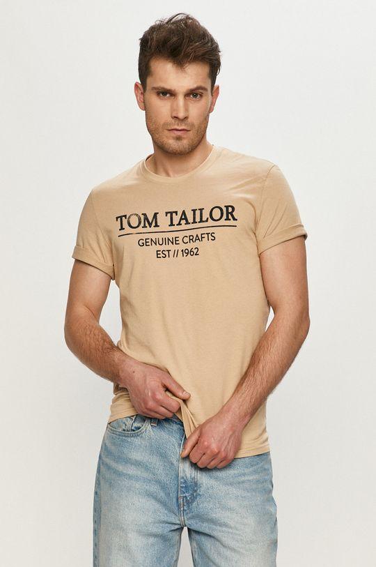 beżowy Tom Tailor - T-shirt Męski