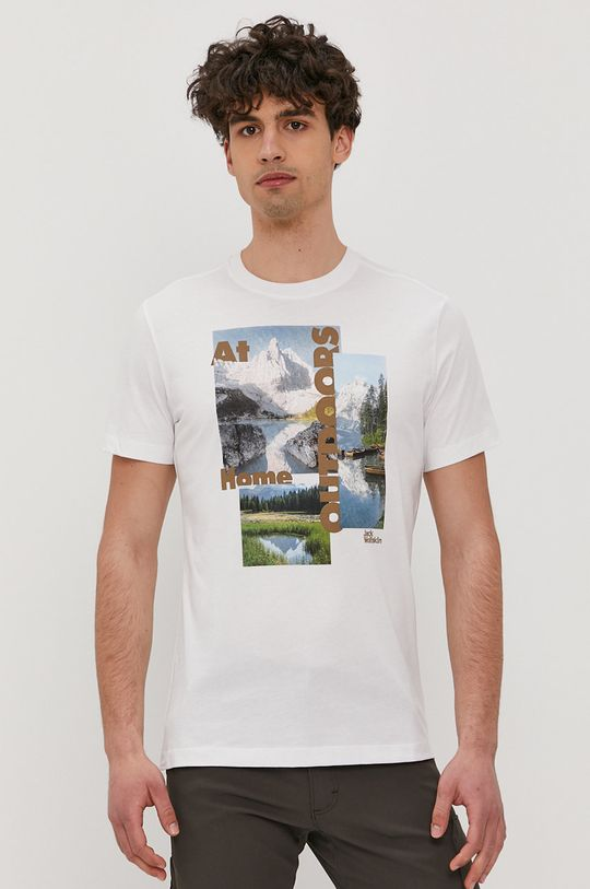 biały Jack Wolfskin - T-shirt Męski