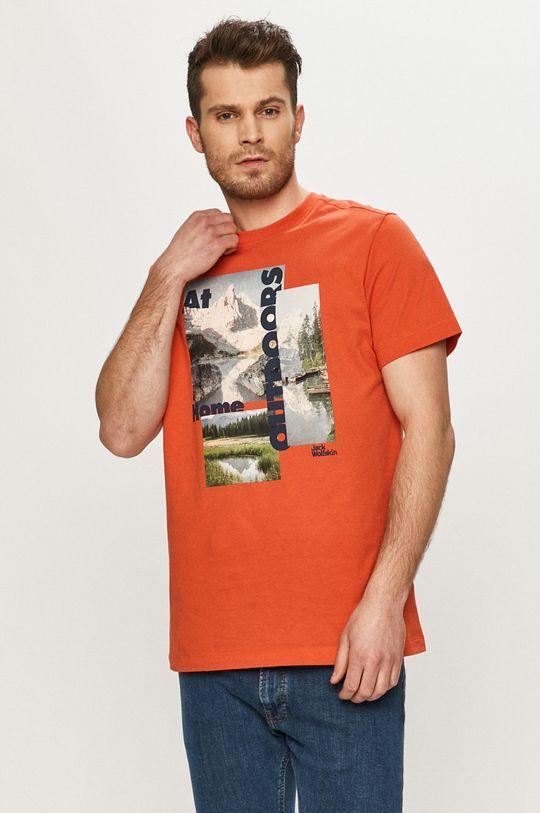 mandarynkowy Jack Wolfskin - T-shirt Męski