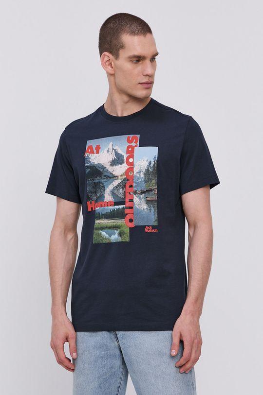 granatowy Jack Wolfskin - T-shirt Męski
