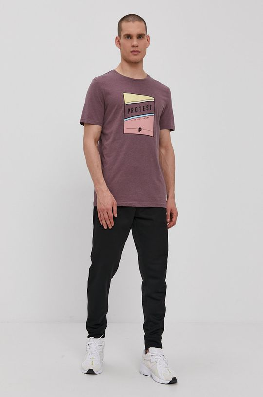 Protest - T-shirt mahoniowy