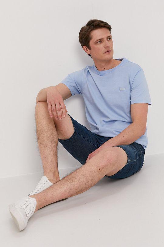 Guess - T-shirt jasny niebieski