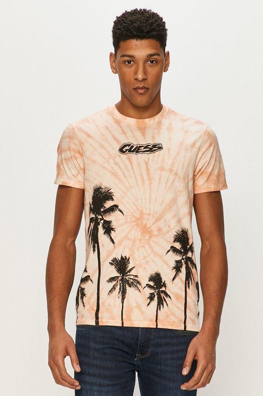 różowy Guess - T-shirt Męski