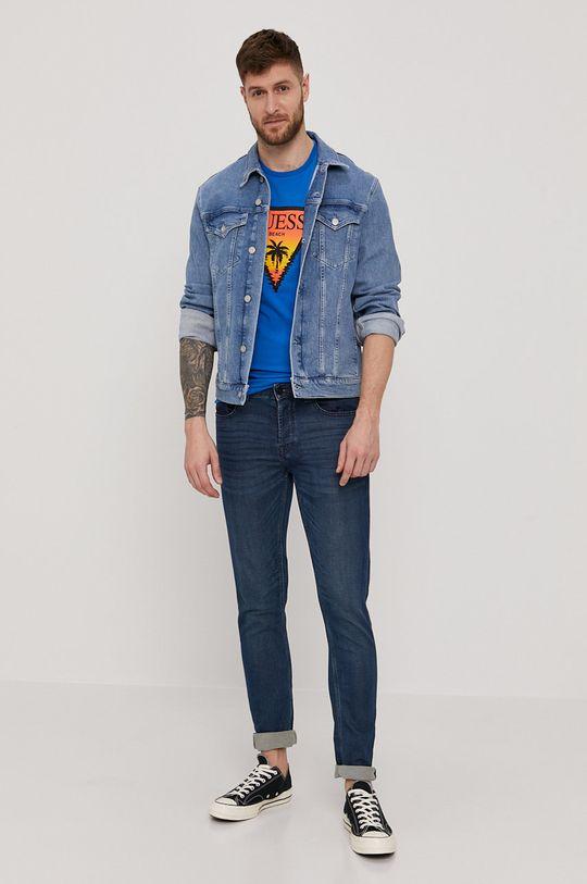 Guess - T-shirt niebieski