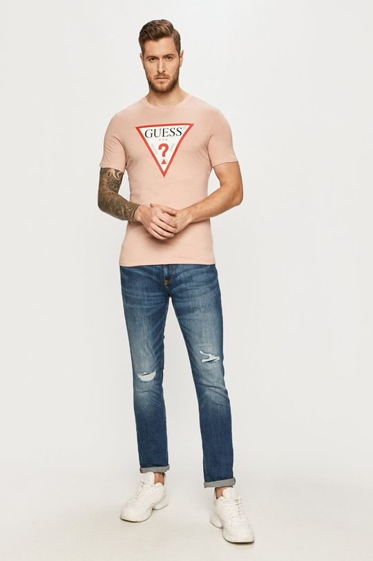 Guess - T-shirt czerwony róż