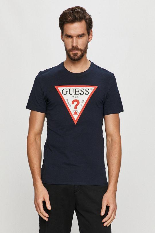 granatowy Guess - T-shirt Męski