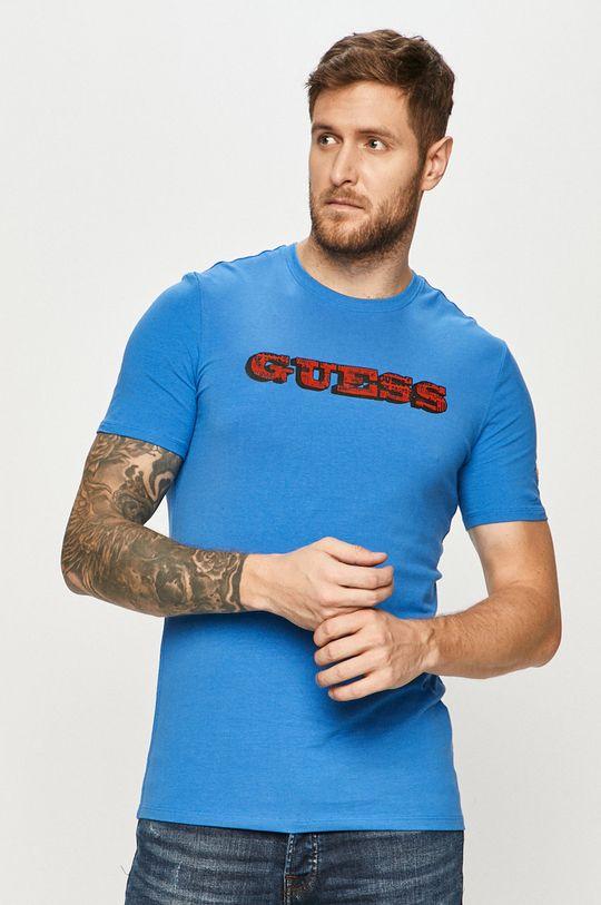 niebieski Guess - T-shirt Męski