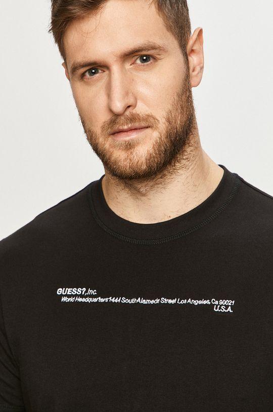czarny Guess - T-shirt Męski
