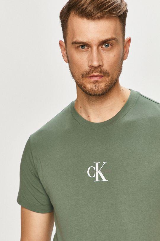 hnedozelená Calvin Klein Jeans - Tričko Pánsky