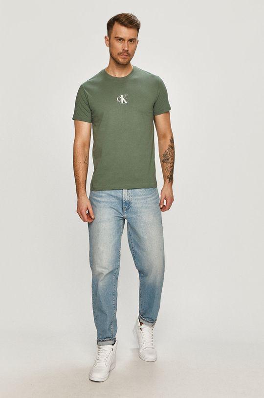 Calvin Klein Jeans - Tričko hnedozelená