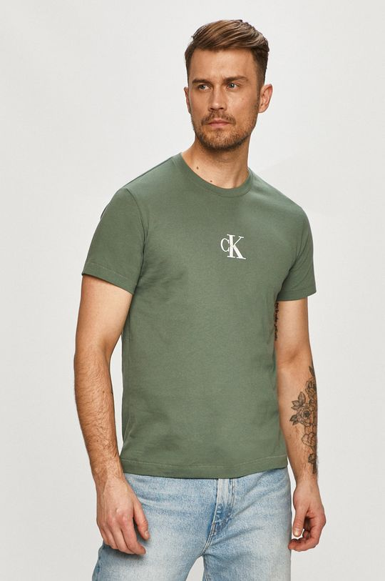 hnedozelená Calvin Klein Jeans - Tričko