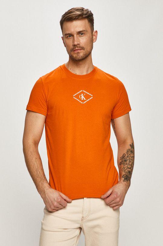 oranžová Calvin Klein Jeans - Tričko Pánský