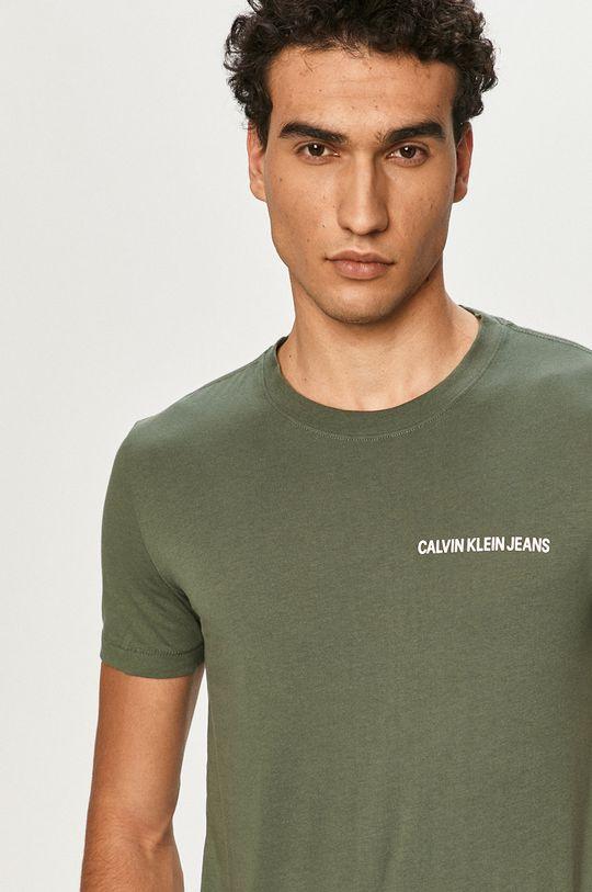 tlumená zelená Calvin Klein Jeans - Tričko