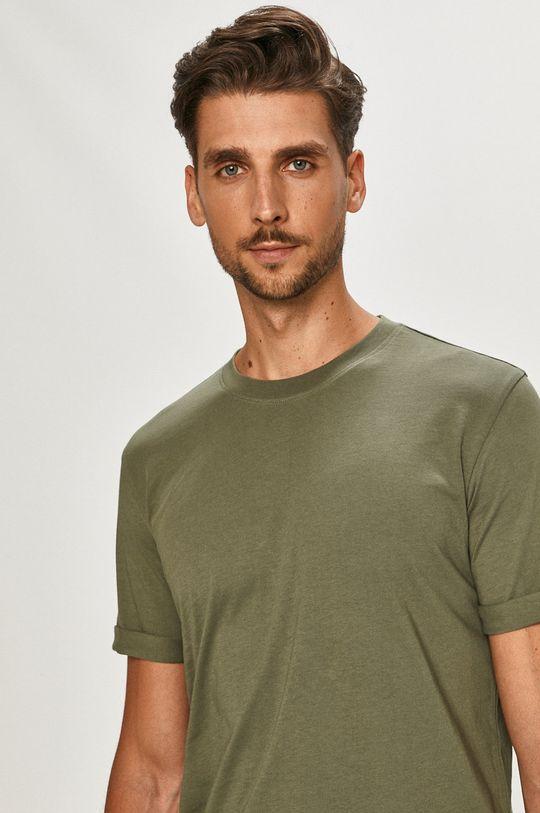 tlumená zelená Calvin Klein Jeans - Tričko Pánský