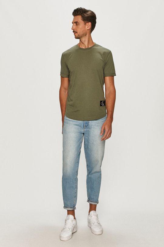 Calvin Klein Jeans - Tričko tlumená zelená