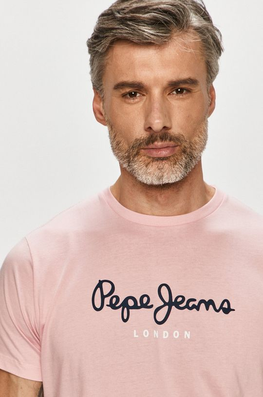 różowy Pepe Jeans - T-shirt Eggo Męski