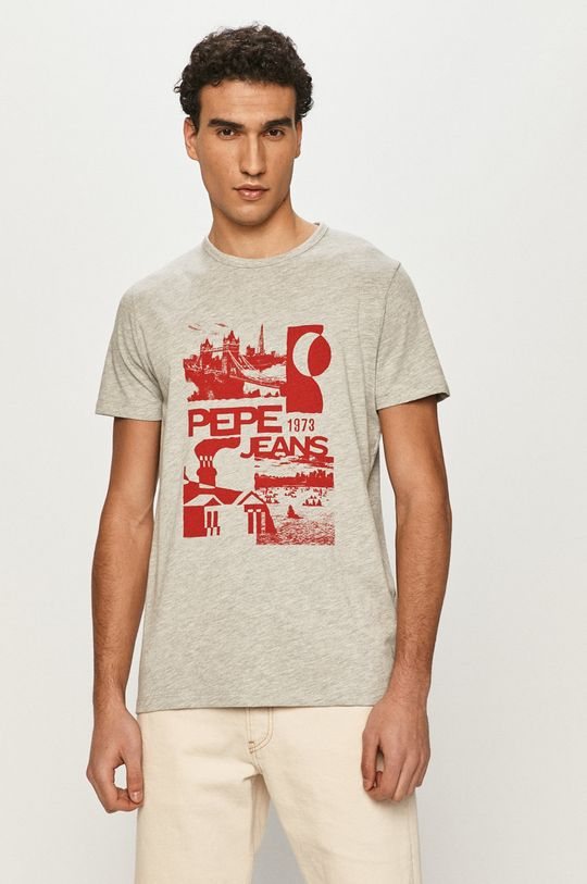 szary Pepe Jeans - T-shirt Dan Męski
