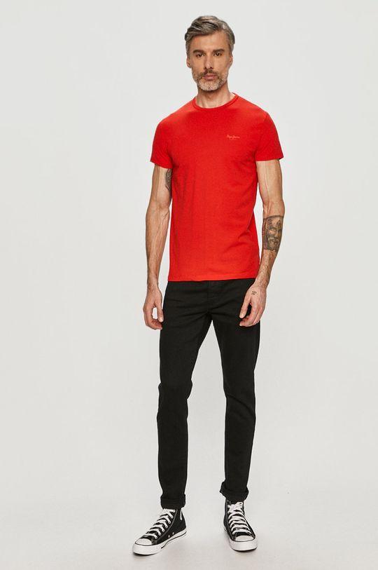 Pepe Jeans - T-shirt Basic czerwony
