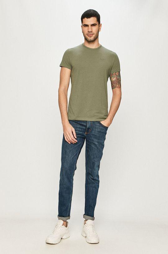 Pepe Jeans - Tričko Original Basic hnedo zelená
