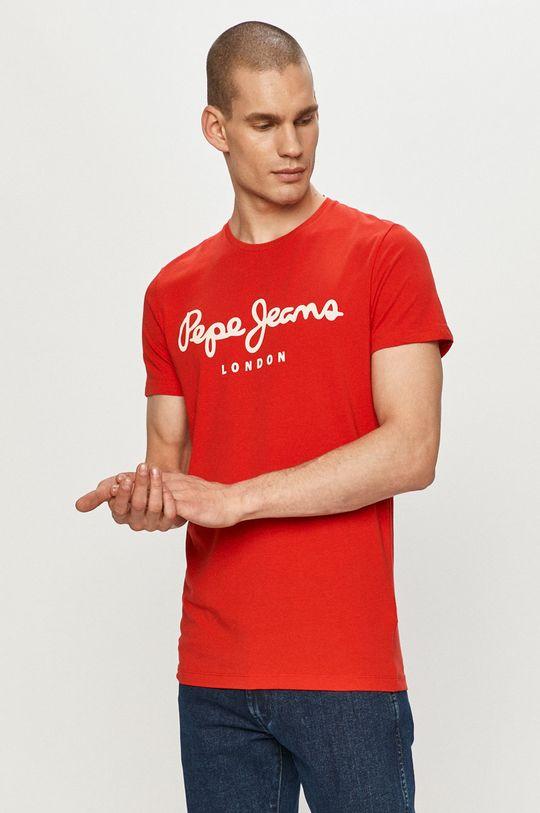 czerwony Pepe Jeans - T-shirt Original Męski