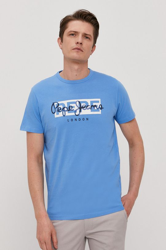 niebieski Pepe Jeans - T-shirt Godric Męski