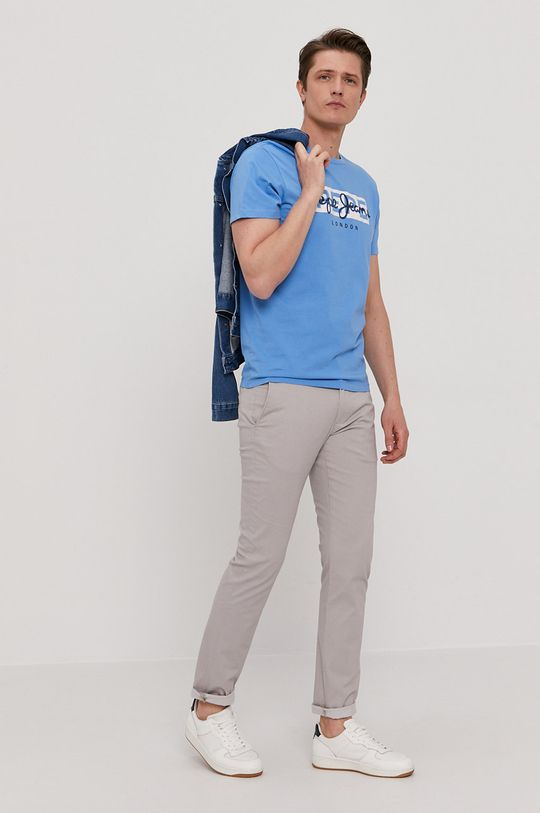 Pepe Jeans - T-shirt Godric niebieski