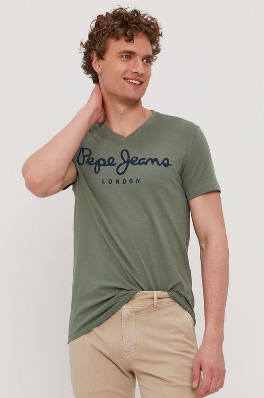 hnedo zelená Pepe Jeans - Tričko Original Pánsky