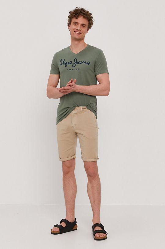 Pepe Jeans - Tričko Original hnedo zelená