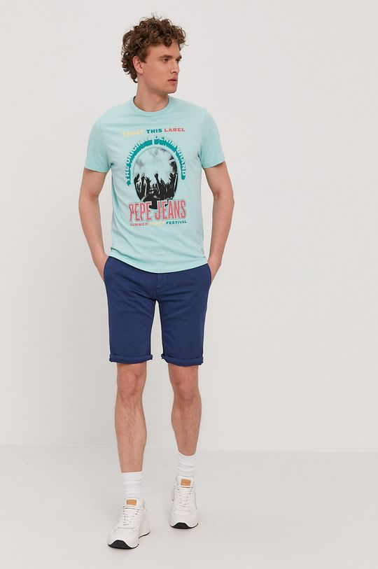 Pepe Jeans - T-shirt Matt jasny turkusowy