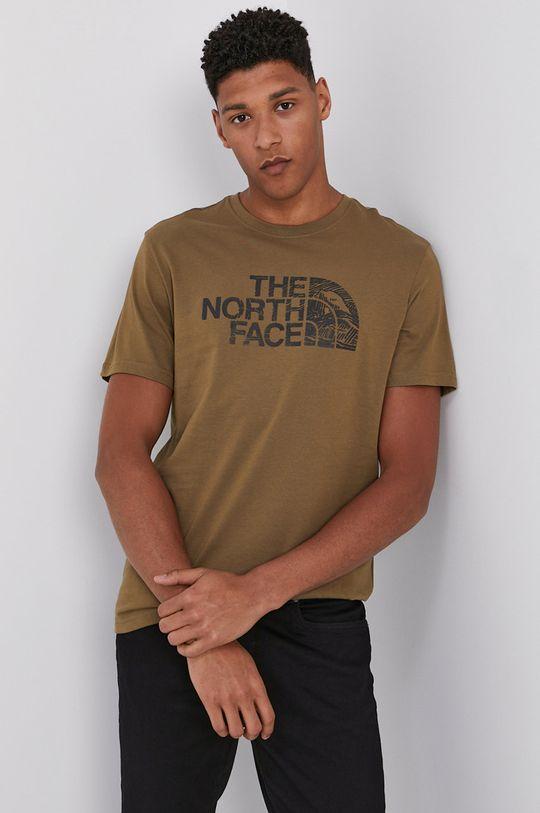 brudny zielony The North Face - T-shirt Męski